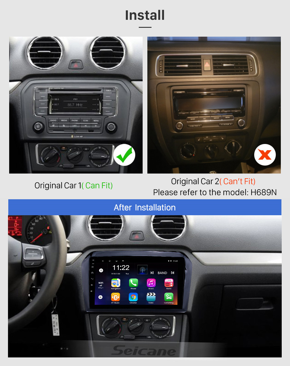 Seicane 2013-2017 VW Volkswagen Jetta Android 10.0 HD Touchscreen 9 inch Head Unit Bluetooth GPS Navigation Radio with AUX support SWC Carplay