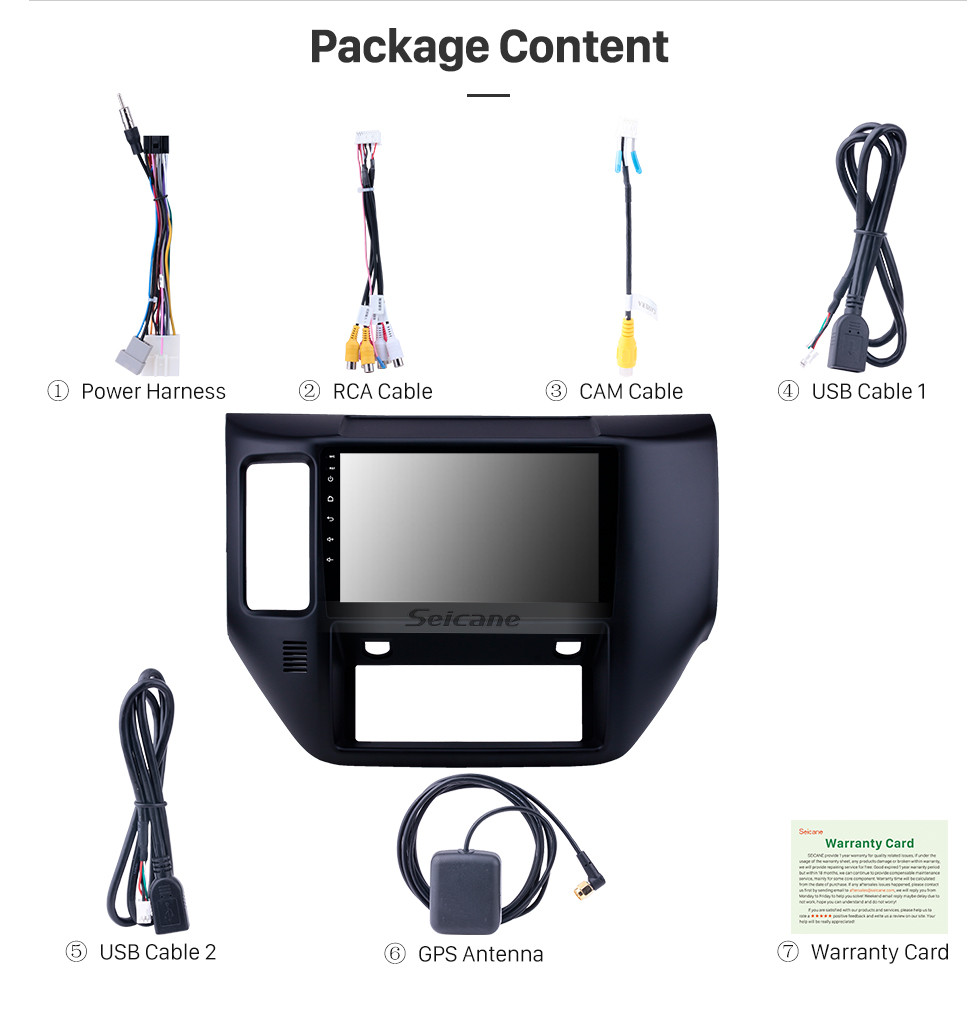 Seicane Android 10.0 9 inch HD Touchscreen GPS Navigation Radio for 2011-2015 Nissan Patrol with Bluetooth WIFI support Carplay SWC