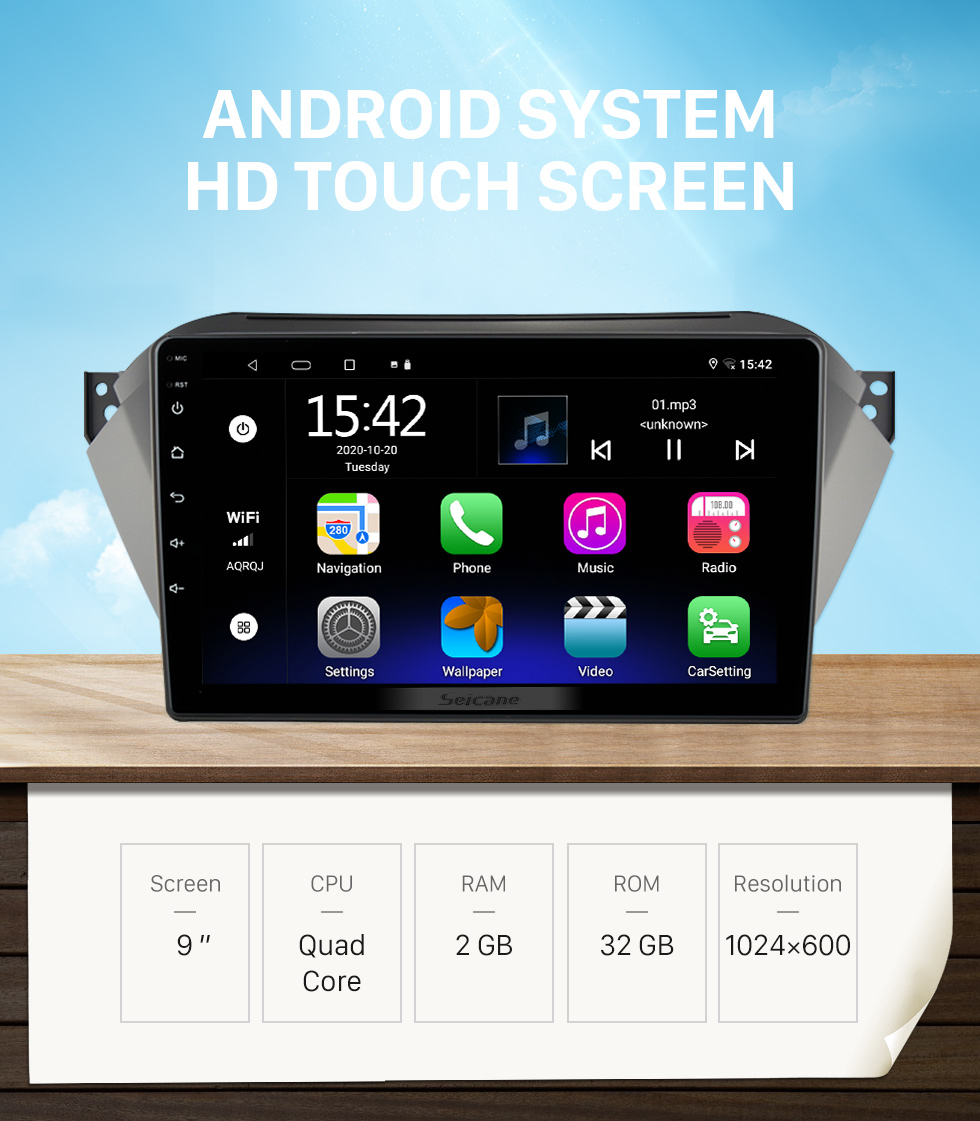 Seicane 10.1 inch Android 10.0 GPS Navigation Universal Radio with HD Touchscreen Bluetooth USB support Carplay TPMS Steering Wheel Control