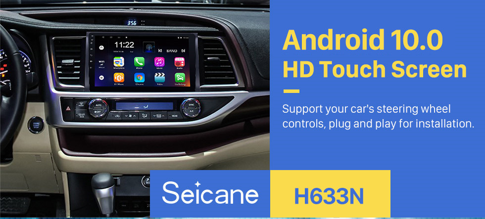 Seicane 10.1 inch 2015 Toyota Highlander Android 10.0 GPS Navigation System 1024*600 Touchscreen Radio Bluetooth OBD2 DVR Rearview Camera TV 1080P WIFI Mirror link Steering Wheel Control