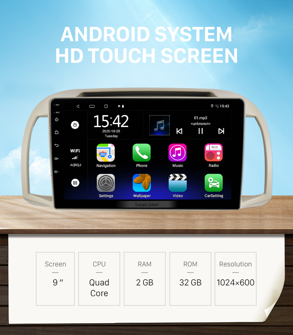 Seicane HD Touchscreen 9 inch Android 10.0 GPS Navigation Universal Radio with Bluetooth AUX WIFI USB support DVR Carplay OBD2 DAB+