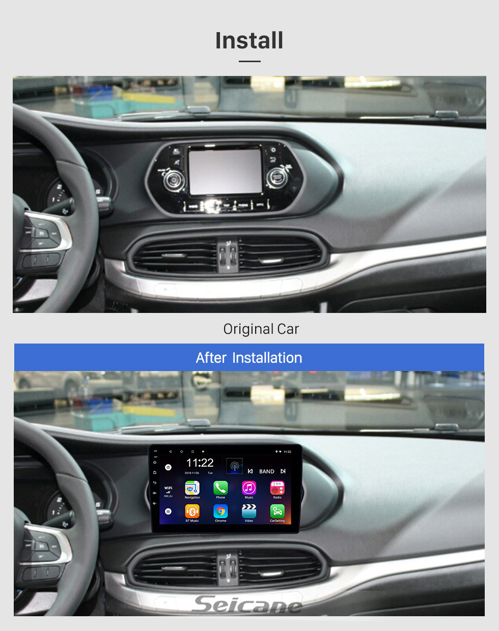 Seicane 2015-2018 Fiat EGEA Android 10.0 HD Touchscreen 9 inch Head Unit Bluetooth GPS Navigation Radio with AUX support OBD2 SWC Carplay
