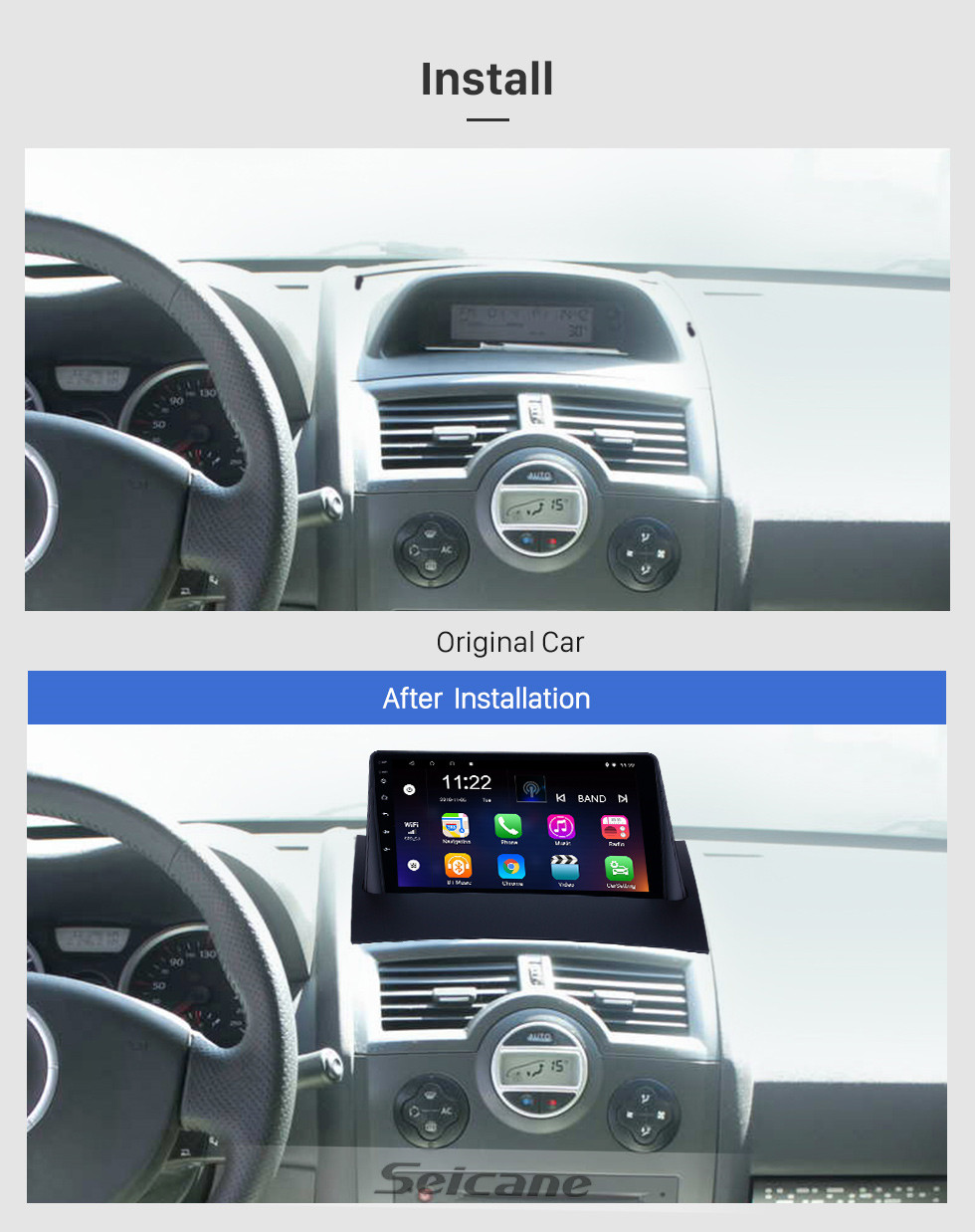 Seicane HD Touchscreen 9 inch Android 10.0 GPS Navigation Radio for 2004-2008 Renault Megane 2 with Bluetooth AUX support Carplay TPMS