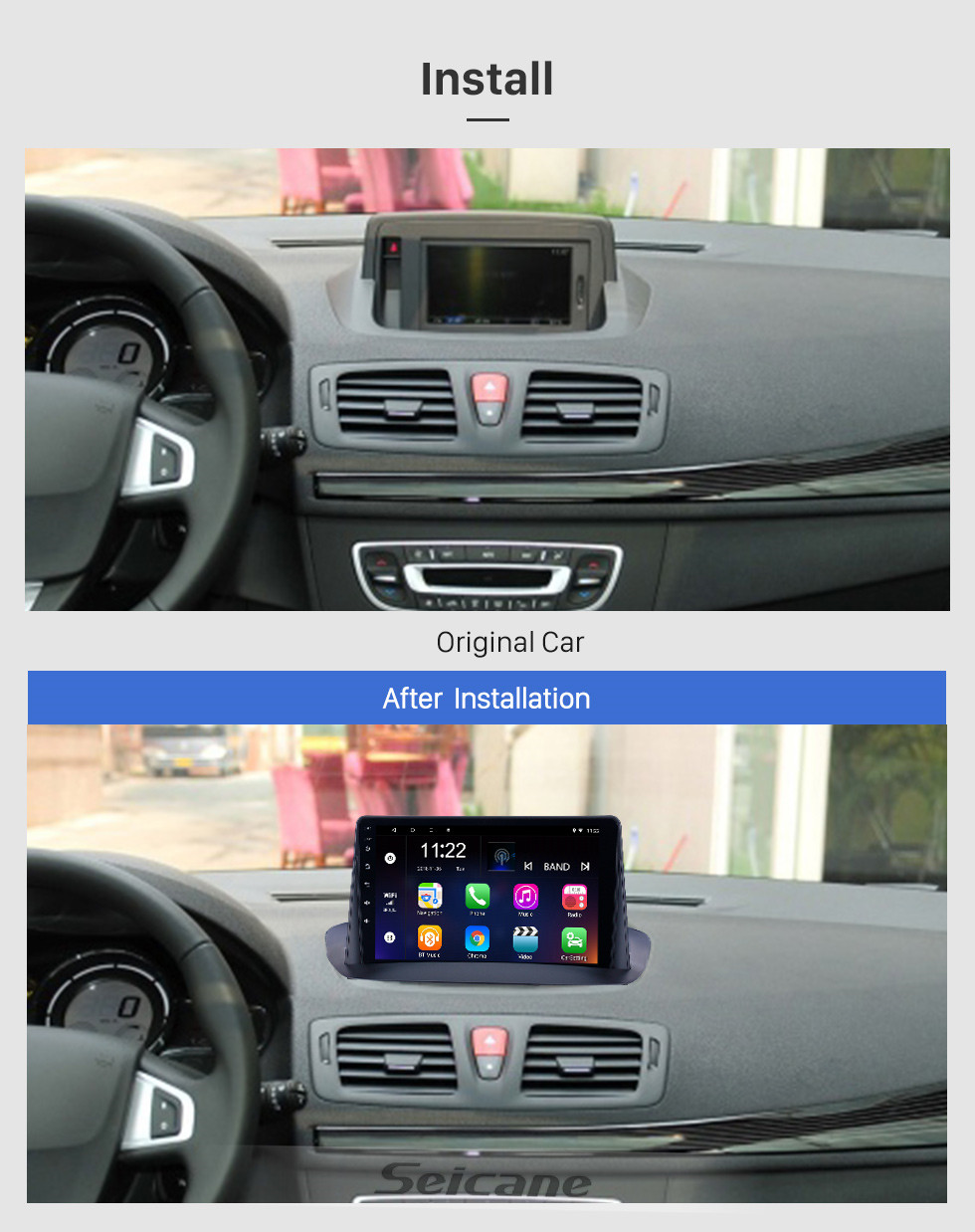 Seicane Android 10.0 9 inch HD Touchscreen GPS Navigation Radio for 2009-2014 Renault Megane 3 with Bluetooth WIFI support Carplay SWC