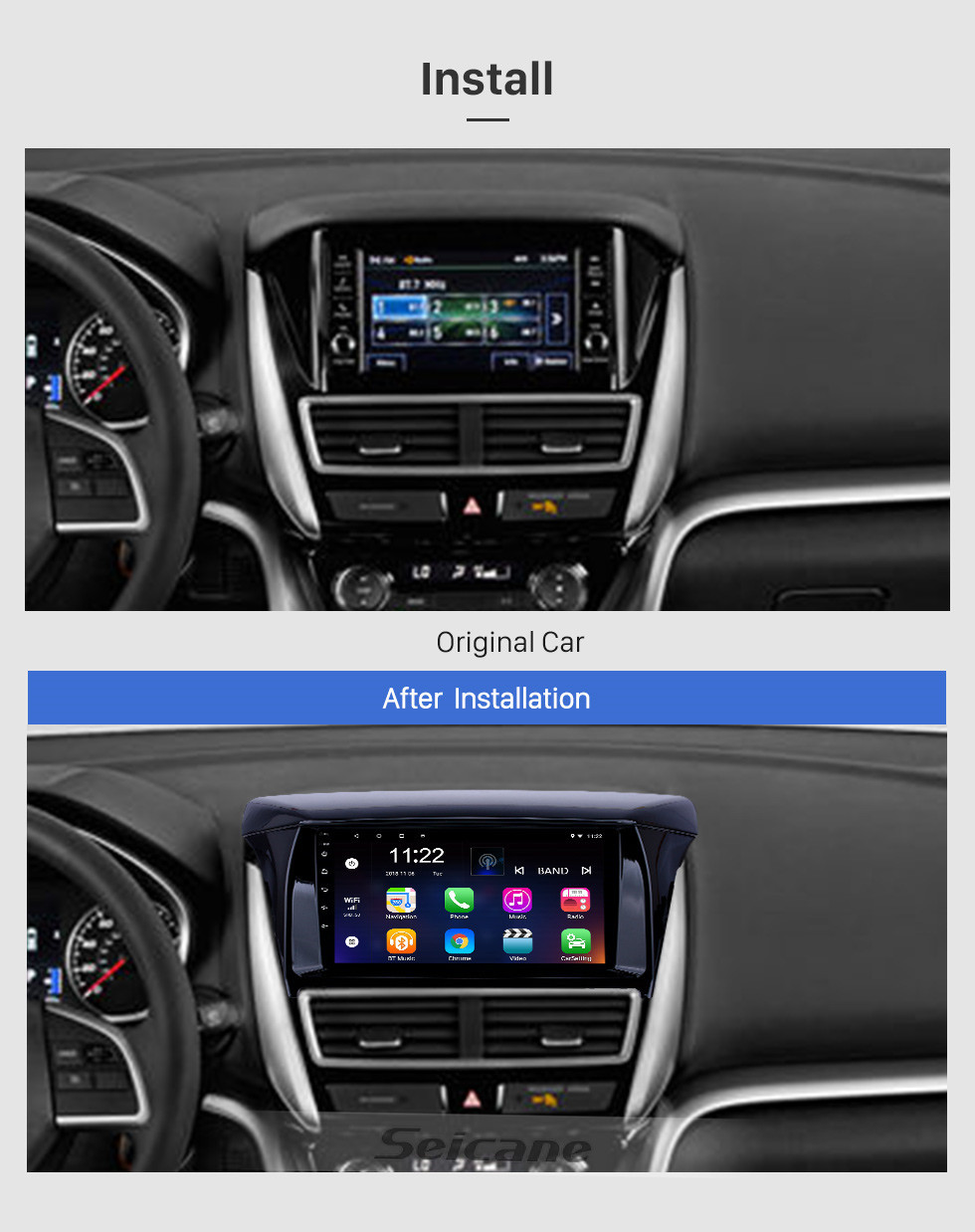 Seicane OEM 9 inch Android 10.0 Radio for 2018 Mitsubishi Eclipse Bluetooth WIFI HD Touchscreen GPS Navigation support Carplay DVR Digital TV