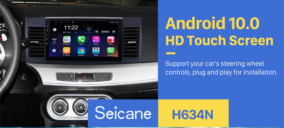 Seicane Android 10.0 2008-2015 Mitsubishi Lancer-ex 10.1 inch HD Touchscreen GPS Navigation Radio with FM Bluetooth WIFI USB 1080P Video Mirror Link OBD2 Rearview Camera