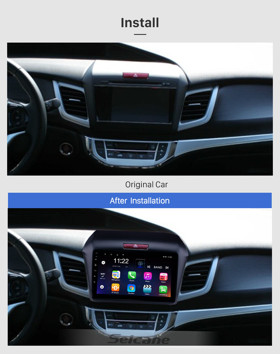 Seicane OEM 9 inch Android 10.0 Radio for 2013 Honda Jade Bluetooth WIFI HD Touchscreen GPS Navigation support Carplay Rear camera