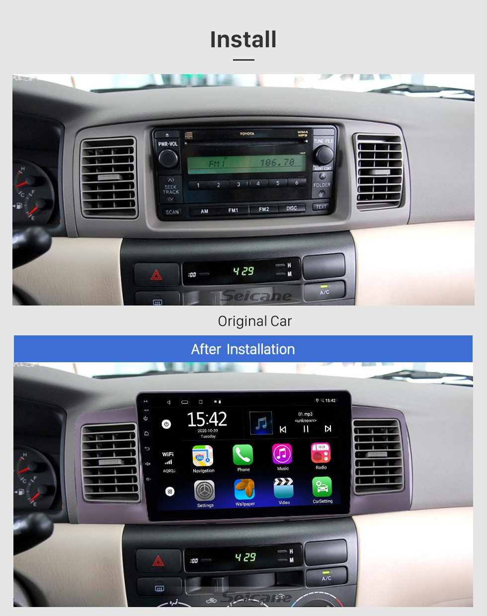 Seicane HD Touchscreen 9 inch Android 10.0 GPS Navigation Radio for 2006-2013 Toyota Corolla with Bluetooth AUX support Carplay DAB+ OBD