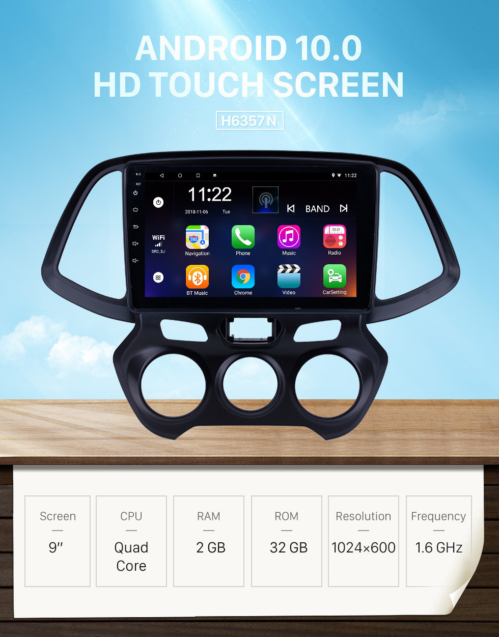 Seicane 9 inch Android 10.0 GPS Navigation Radio for 2018 Hyundai Santro/Atos with HD Touchscreen Bluetooth support Carplay Steering Wheel Control