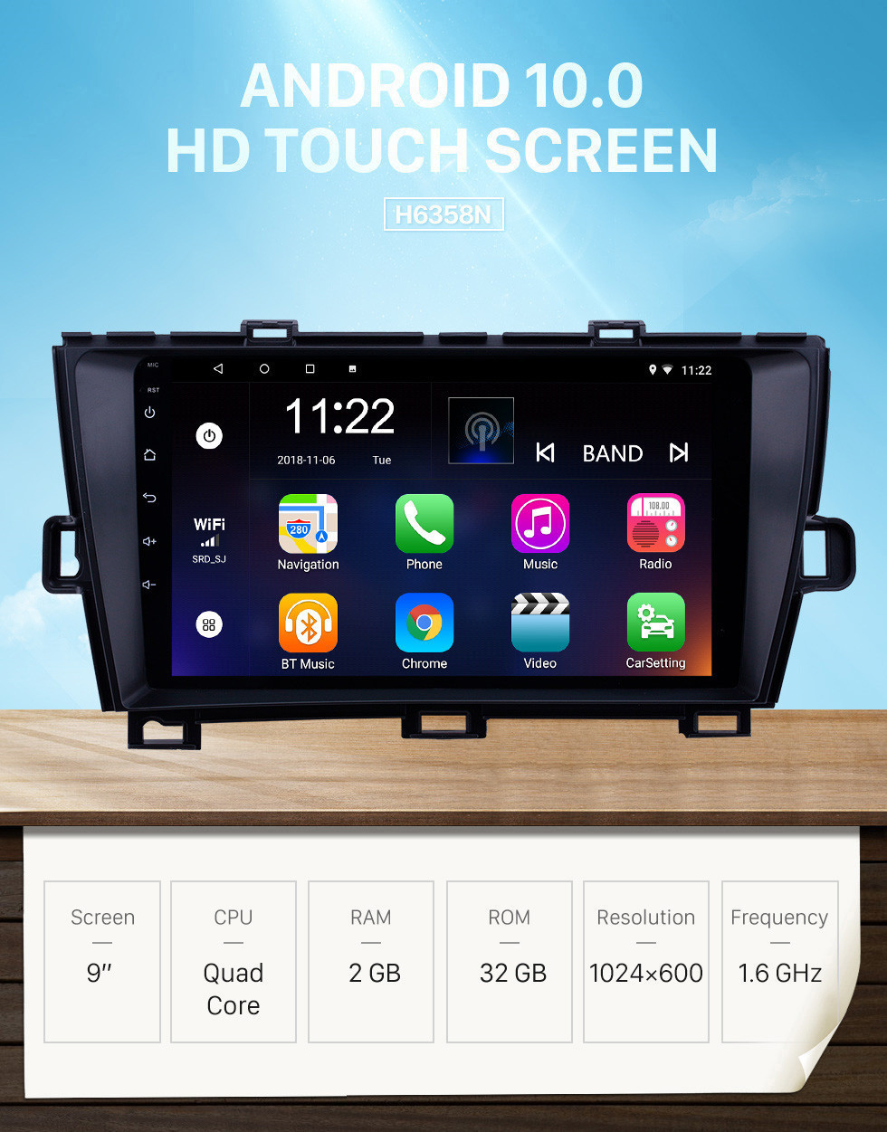 Seicane OEM 9 inch Android 10.0 Radio for 2009-2013 Toyota Prius RHD Bluetooth HD Touchscreen GPS Navigation support Carplay Rear camera