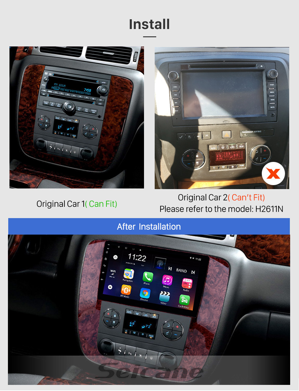 Seicane Android 10.0 Rádio de navegação GPS de 9 polegadas para 2007-2012 GMC Yukon / Acadia / Tahoe Chevy Chevrolet Tahoe / Suburbano Buick Enclave com HD Touchscreen Suporte Bluetooth OBD2 Carplay
