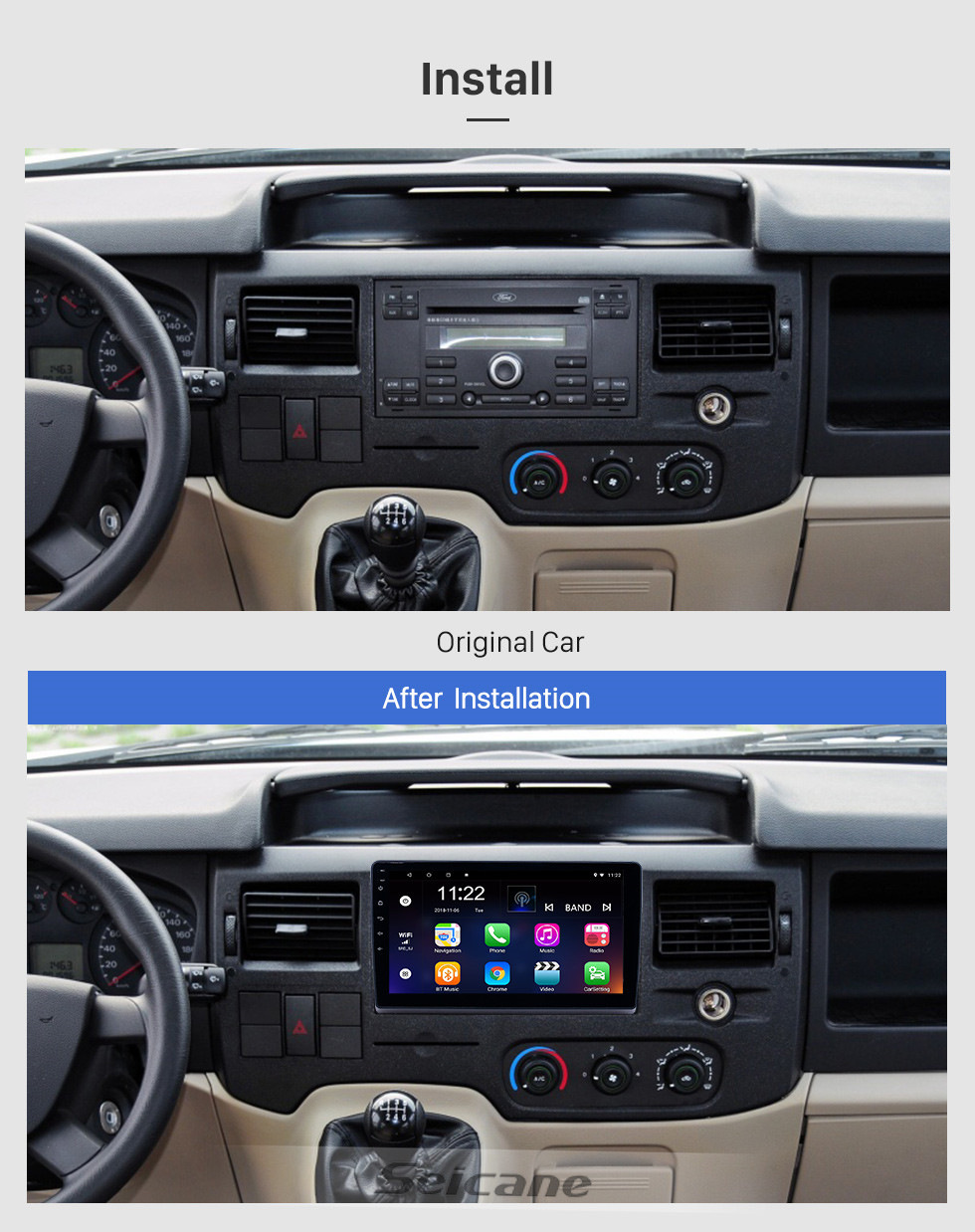 Seicane 10.1 inch Android 10.0 GPS Navigation Radio for 2009-2019 Ford New Transit with HD Touchscreen Bluetooth support Carplay Steering Wheel Control