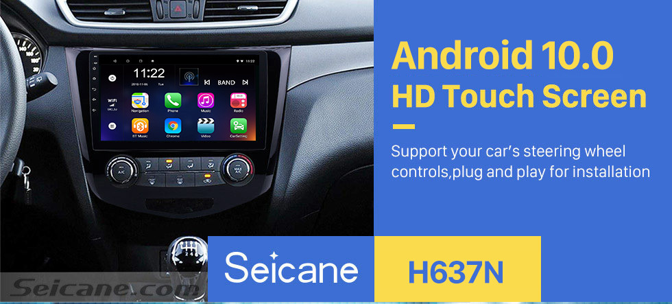 Seicane 10.1 inch 2012 2013 2014 2015 2016 2017 Nissan Qashqai Android 10.0 Radio GPS Navigation Support Bluetooth USB WIFI 1080P Video Mirror Link DVR Rearview Camera