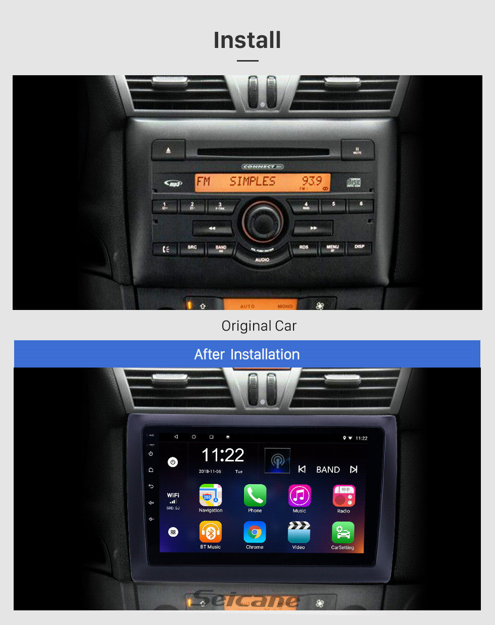 Seicane 2010 Fiat Stilo Android 10.0 HD Touchscreen 9 inch AUX Bluetooth WIFI USB GPS Navigation Radio support OBD2 SWC Carplay DVR
