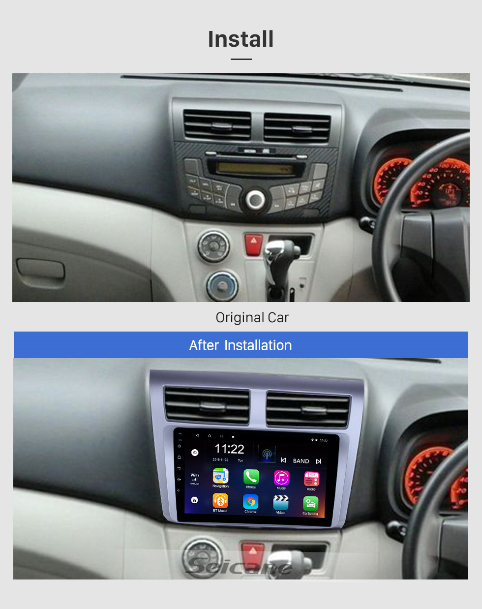 Seicane 9 inch Android 10.0 GPS Navigation Radio for 2012-2014 Proton Myvi With HD Touchscreen Bluetooth WIFI support Carplay TPMS