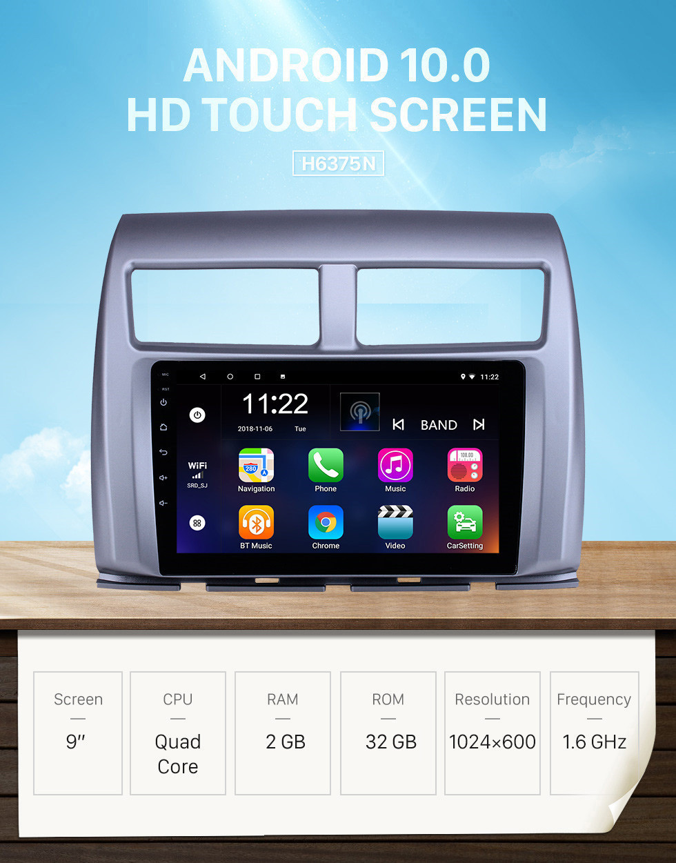 Seicane OEM 9 inch Android 10.0 Radio for 2015-2017 Proton Myvi Bluetooth HD Touchscreen GPS Navigation support Carplay Rear camera
