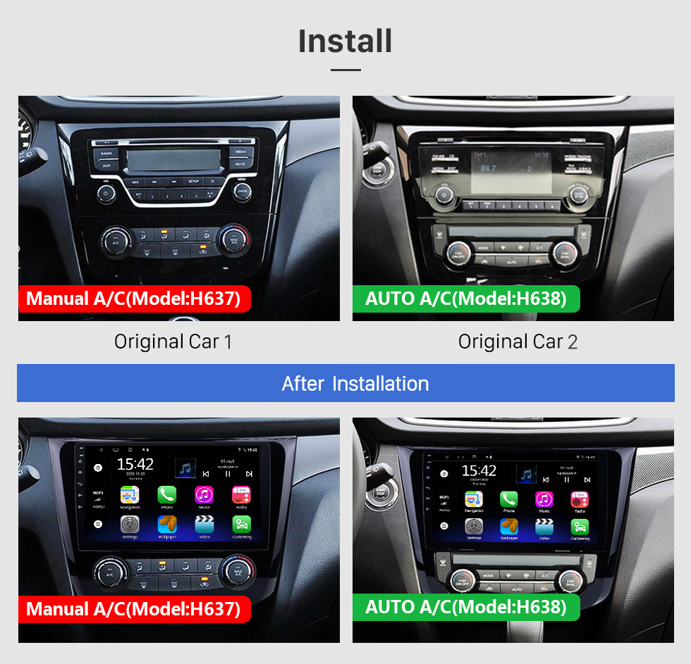 Seicane 10,1-дюймовый Android 10.0 2014 Nissan QashQai X-Trail Радио Bluetooth Aftermarket OEM Система GPS 3G WiFi TV Зеркальная связь USB SD Авто A / V Резервная камера