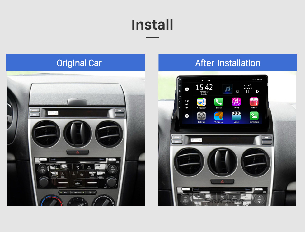 Seicane 10.1 inch Android 10.0 GPS Navigation Radio for 2002-2008 Old Mazda 6 with HD Touchscreen Bluetooth support Carplay Steering Wheel Control