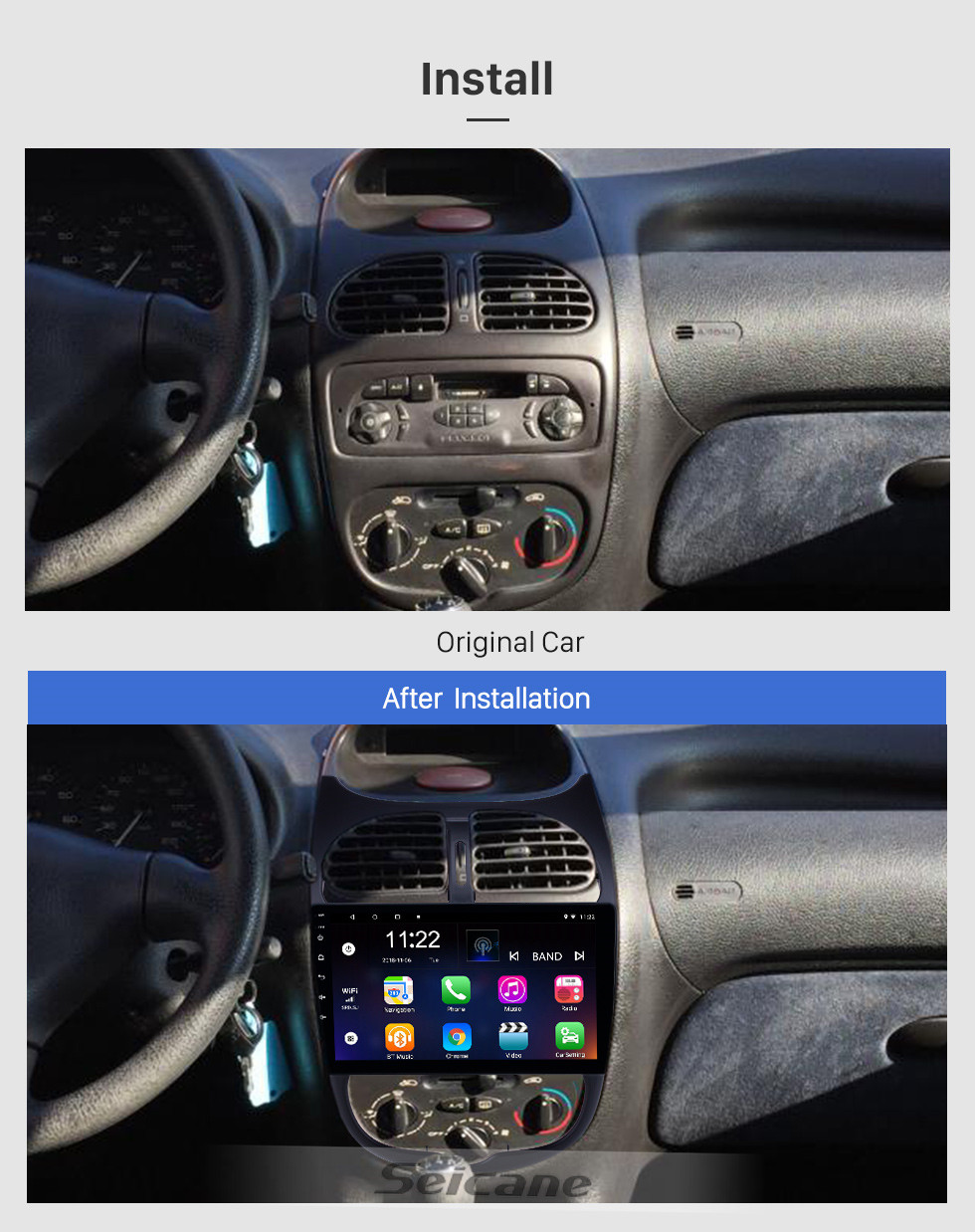 Seicane HD Touchscreen 9 inch Android 10.0 GPS Navigation Radio for 2000-2016 Peugeot 206 with Bluetooth AUX WIFI support Carplay TPMS DAB+