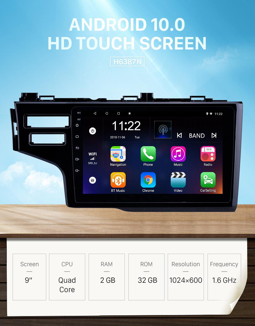 Seicane OEM 9 inch Android 10.0 Radio for 2013-2015 Honda Fit LHD Bluetooth HD Touchscreen GPS Navigation support Carplay Rear camera