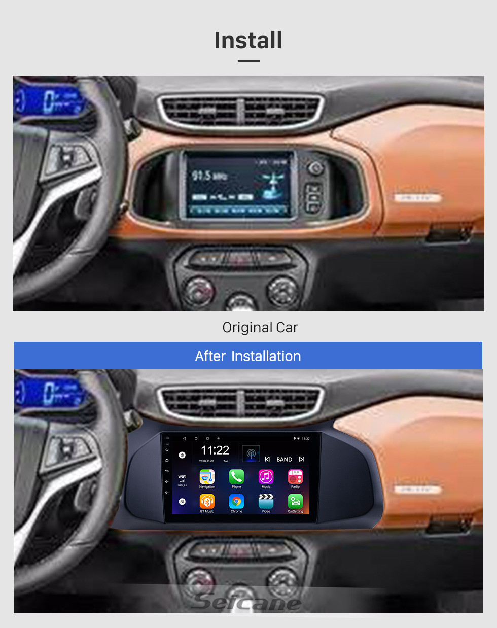 Seicane 2012-2019 Chevy Chevrolet Onix Android 10.0 HD Touchscreen 9 inch AUX Bluetooth WIFI USB GPS Navigation Radio support SWC Carplay