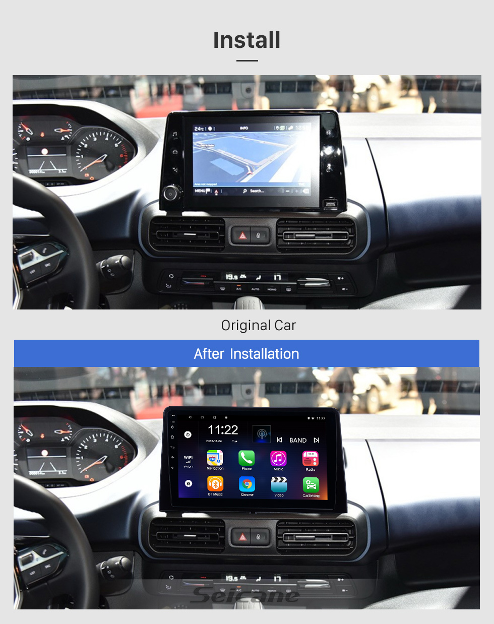 Seicane 10.1 inch Android 10.0 for 2019 Peugeot Rifter Radio GPS Navigation System With HD Touchscreen USB Bluetooth support DAB+ Carplay