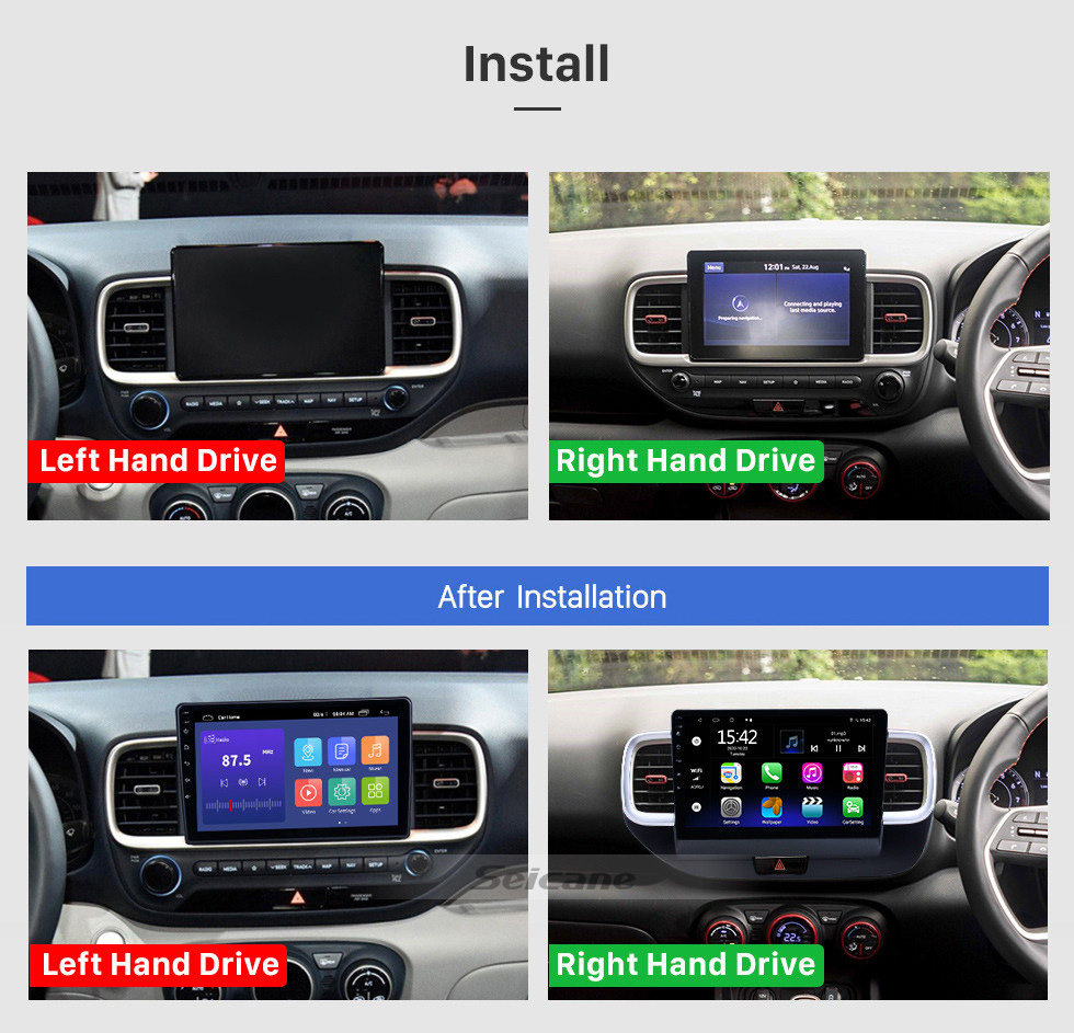 Seicane 10.1 inch Android 10.0 GPS Navigation Radio for 2019 Hyundai Venue RHD With HD Touchscreen Bluetooth support Carplay TPMS