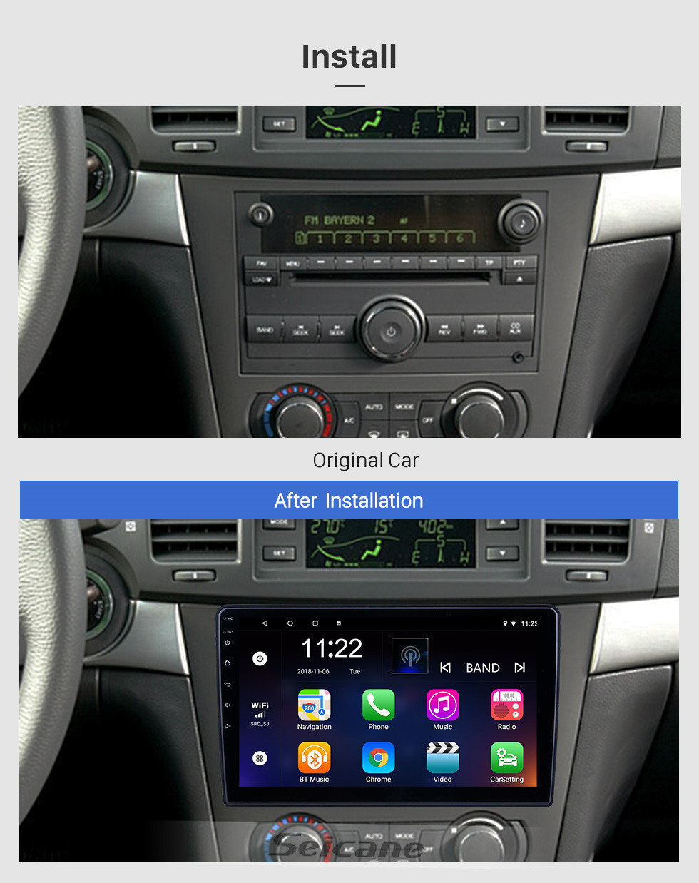 Seicane 10.1 inch Android 10.0 GPS Navigation Radio for 2005-2010 Chevy Chevrolet/Pontiac/Saturn With HD Touchscreen Bluetooth support Carplay