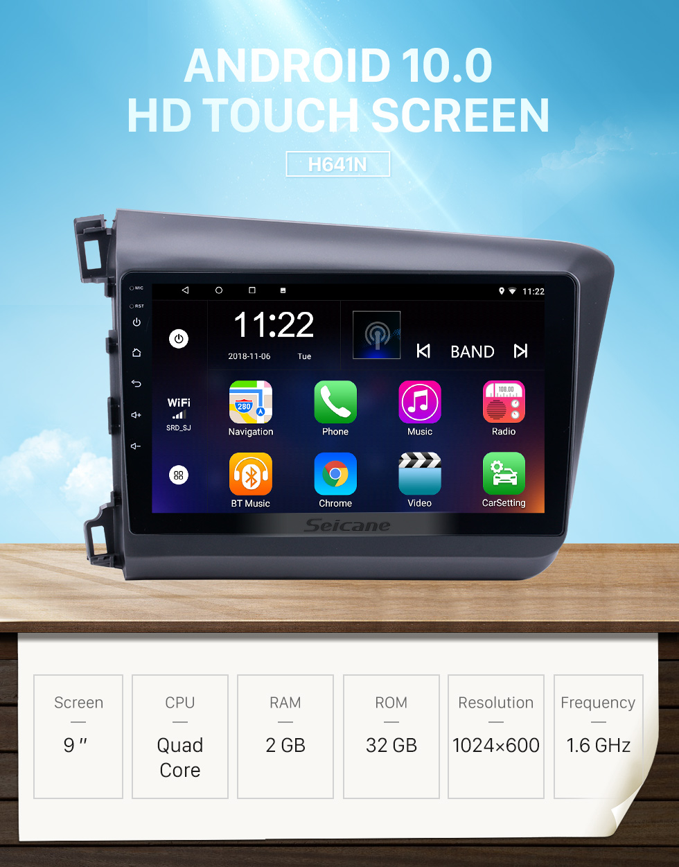 Seicane 9 inch Android 10.0 HD Touchscreen Car Radio for 2012 Honda Civic LHD with Bluetooth Music 3G WiFi Mirror Link OBD2