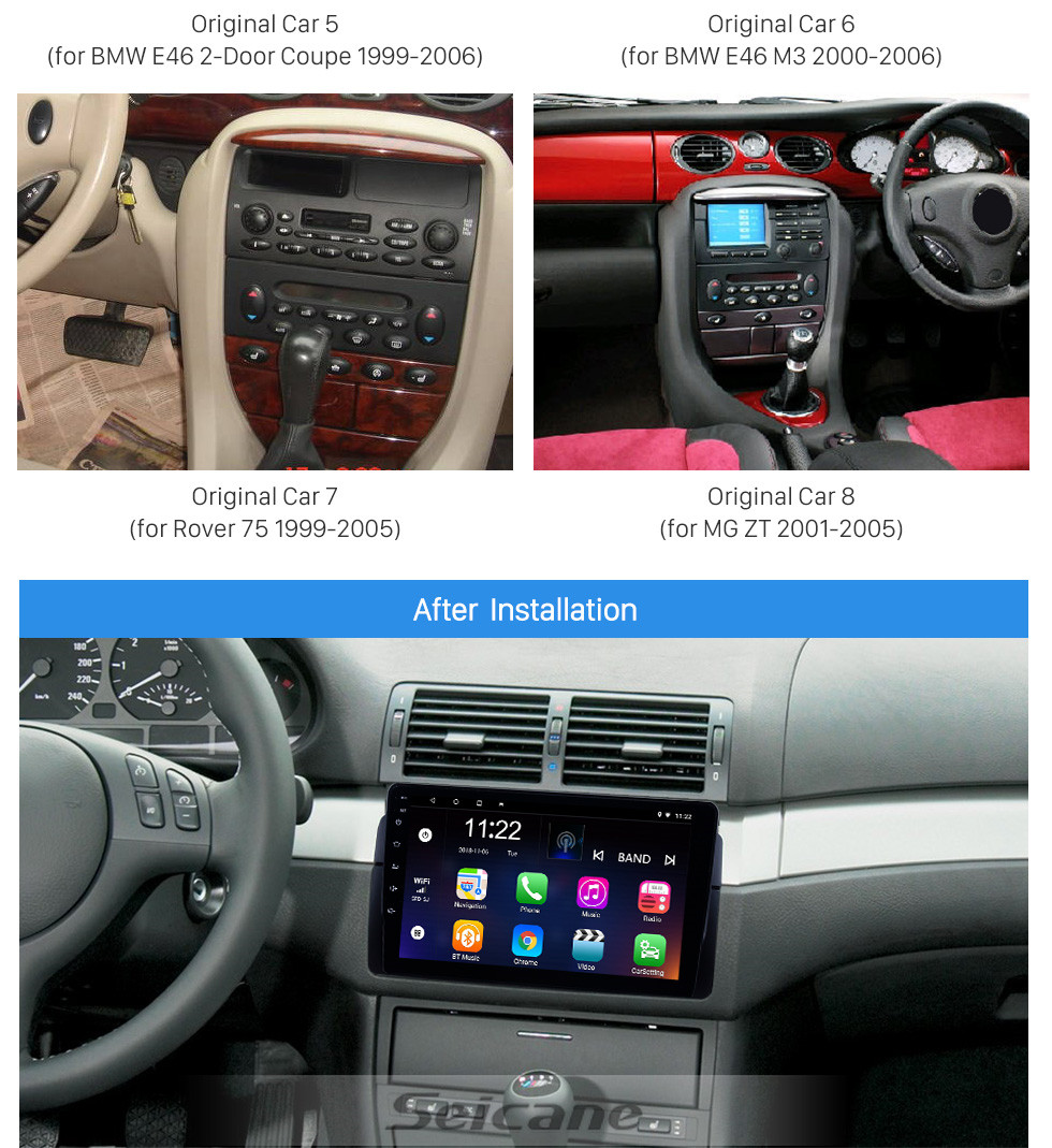 Seicane 9 inch Android 10.0 GPS Navigation Radio for 1998-2006 BMW M3/3 Series E46/2001-2004 MG ZT/1999-2004 Rover 75 With HD Touchscreen Bluetooth support Carplay