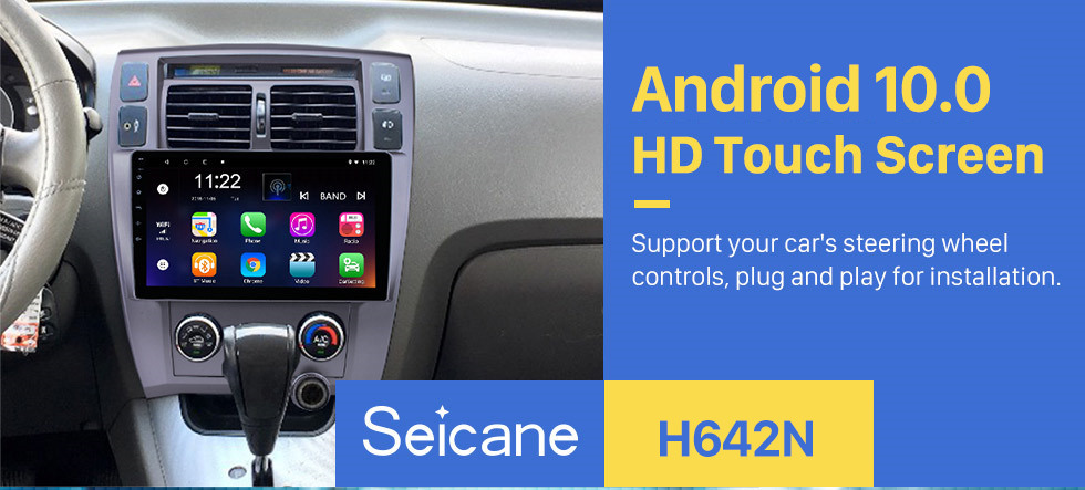 Seicane 10.1 Inch Android 10.0 HD Touchscreen Radio For 2006-2013 Hyundai Tucson LHD GPS Navigation Car Stereo Bluetooth Support Mirror Link OBD2 3G WiFi DVR 1080P Video Steering Wheel Control