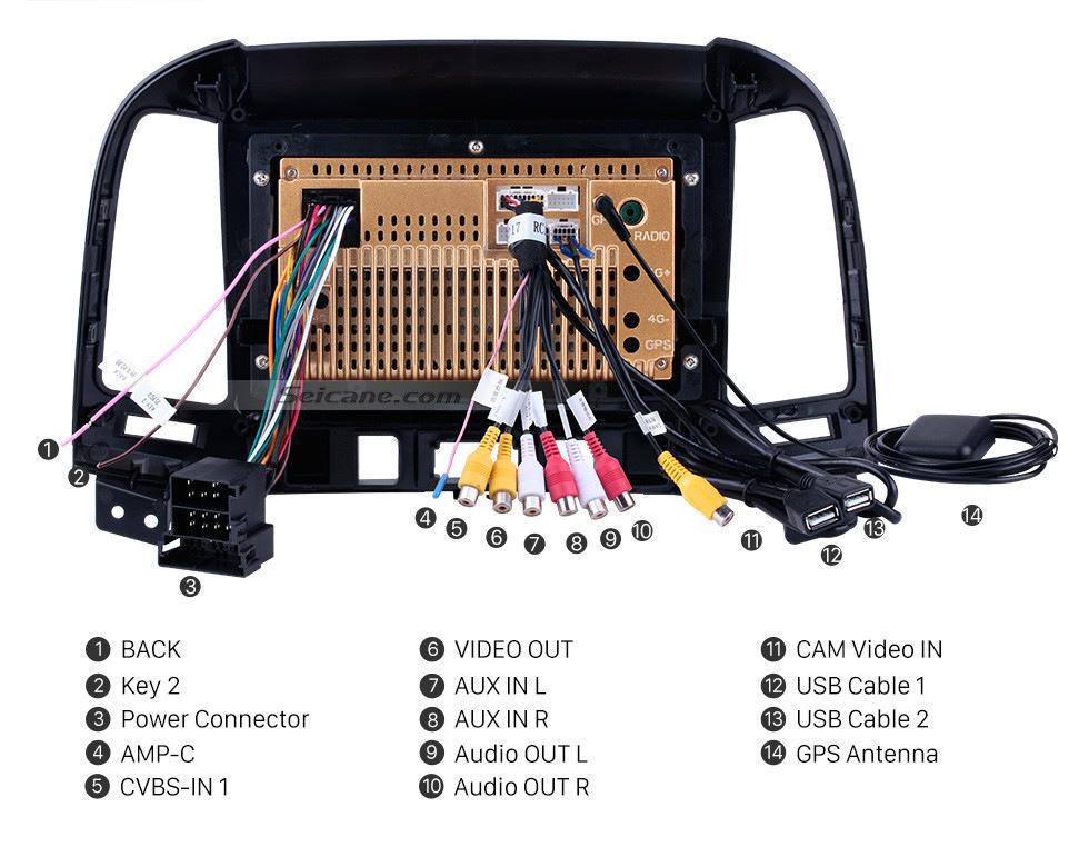 Seicane OEM 2005-2012 HYUNDAI SANTA FE Mise à niveau radio avec Android 10.0 Bluetooth Navigation GPS Système audio de voiture Écran tactile WiFi 3G Lien en miroir OBD2 Caméra de recul DVR AUX