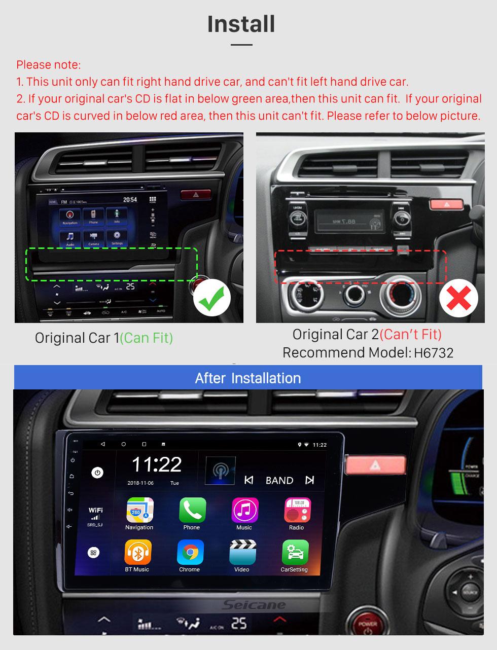 Seicane 10.1 pulgadas Android 10.0 1024 * 600 2014 2015 HONDA JAZZ/FIT (RHD) Radio Bluetooth pantalla táctil del GPS del coche de la navegación estéreo Espejo Enlace control del volante 1080P DAB+