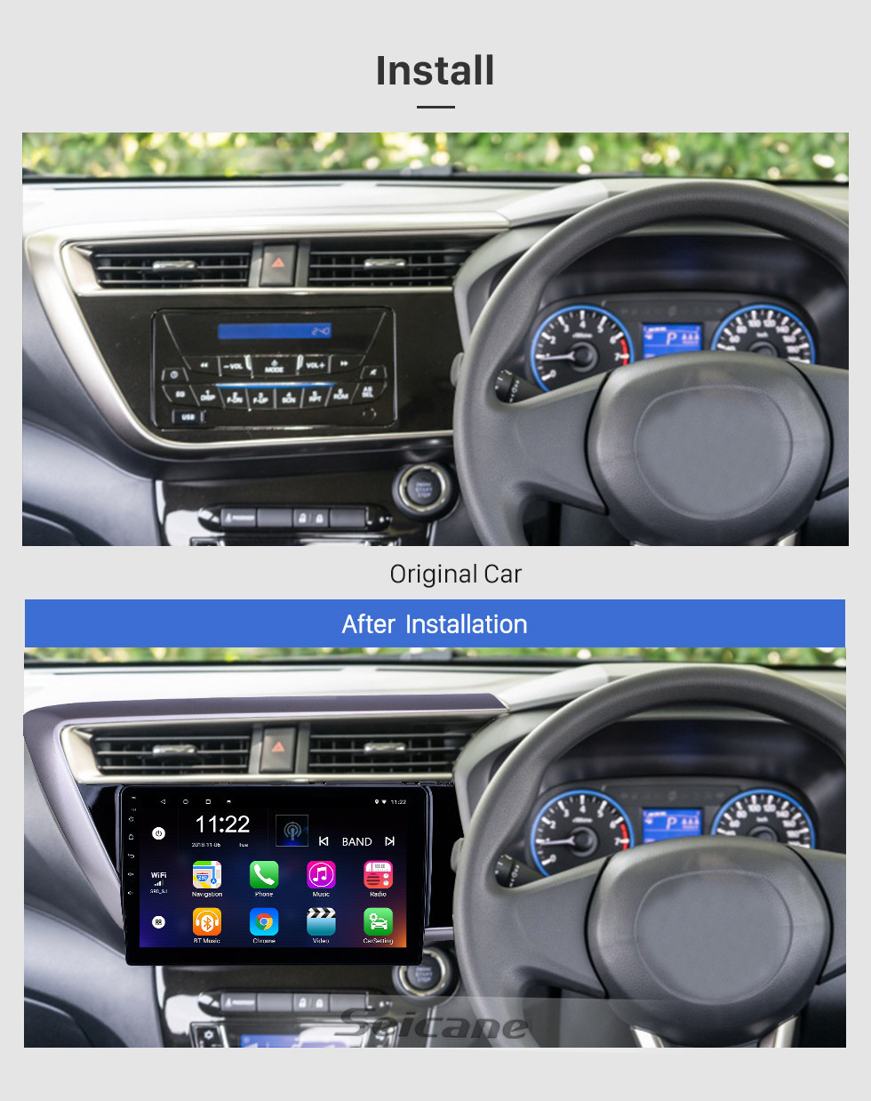 Seicane 10.1 inch Android 10.0 GPS Navigation Radio for 2018 Proton Myvi With HD Touchscreen Bluetooth support Carplay TPMS Digital TV