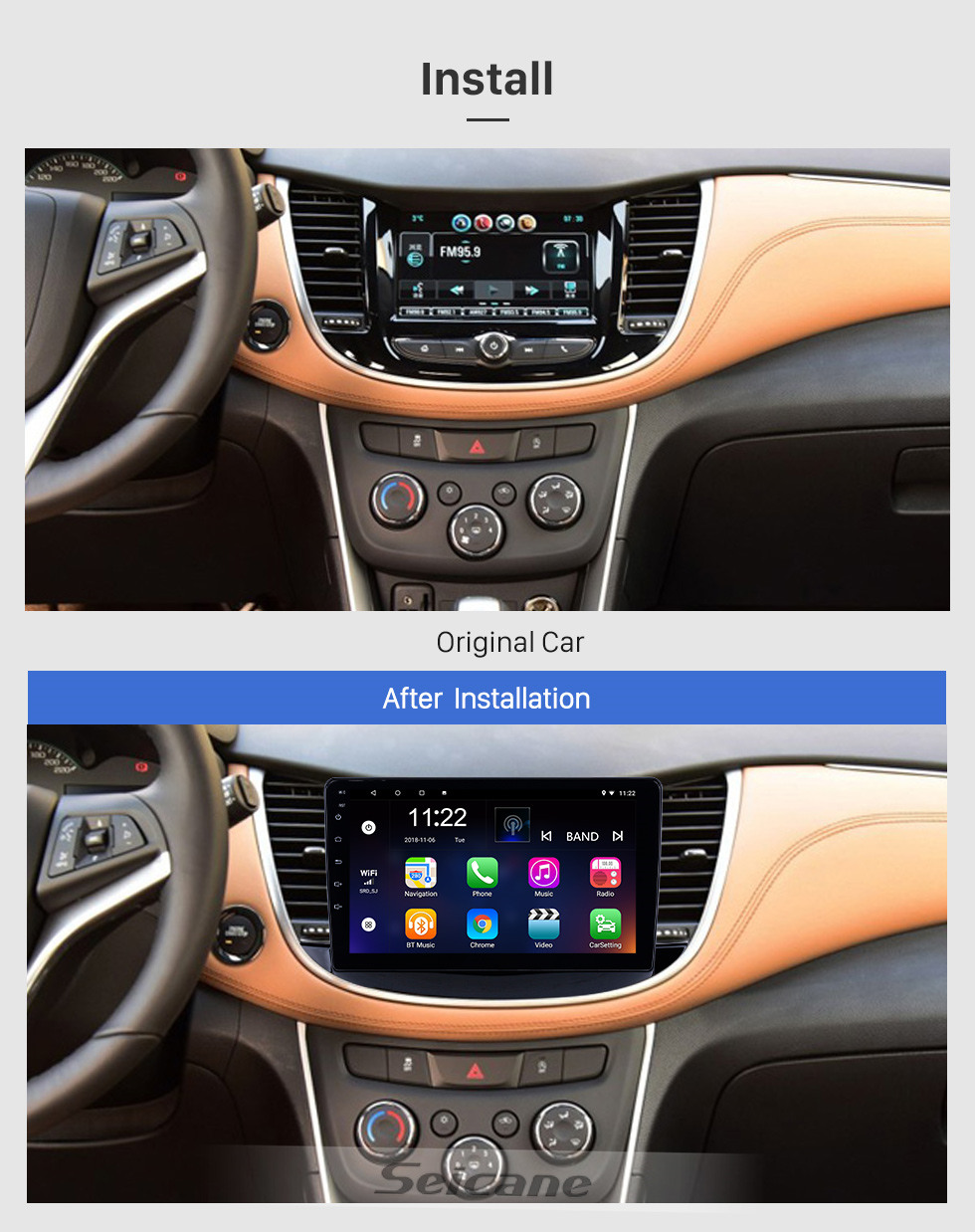 Seicane OEM 9 inch Android 10.0 Radio for 2017-2019 Chevy Chevrolet Trax Bluetooth HD Touchscreen GPS Navigation support Carplay DVR OBD