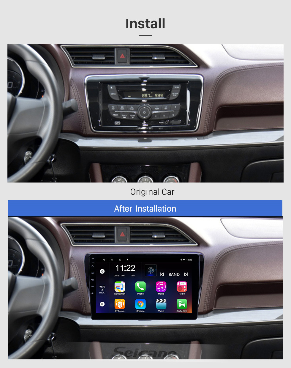 Seicane 10.1 inch GPS Navigation Radio Android 10.0 for 2017-2019 Venucia M50V With HD Touchscreen Bluetooth support Carplay Backup camera