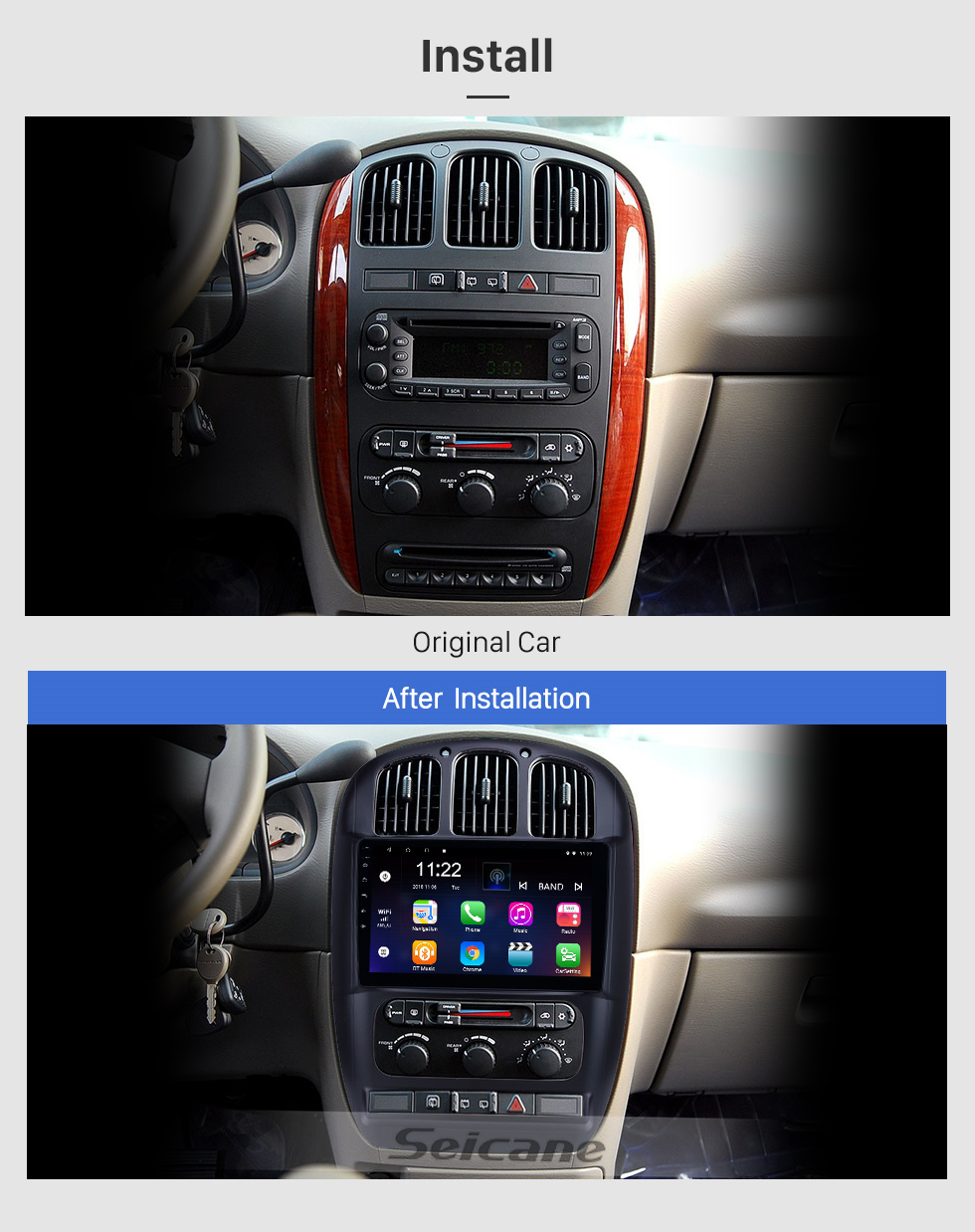 Seicane 10.1 inch GPS Navigation Radio Android 10.0 for 2006-2012 Chrysler Pacifica With HD Touchscreen Bluetooth support Carplay Backup camera