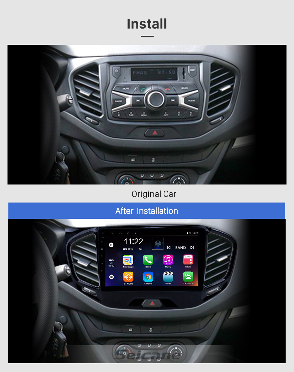 Seicane 2015-2019 Lada Vesta Cross Sport Android 10.0 HD Touchscreen 9 inch GPS Navigation Radio with Bluetooth support Carplay SWC
