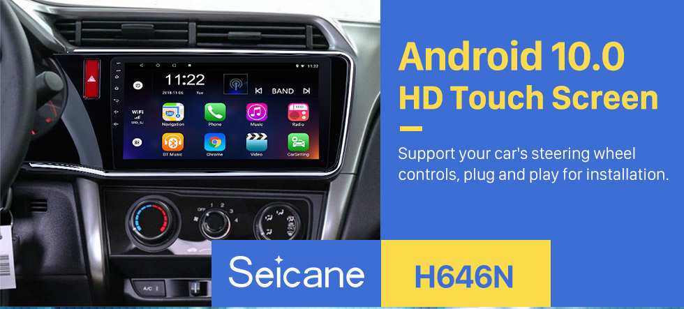 Seicane 2014 2015 2016 2017 Honda CITY Left Android 10.0 10.1 inch HD 1024*600 Touchscreen Radio GPS Sat Nav support WIFI USB Bluetooth Music Audio system 1080P Mirror link DVR OBD2