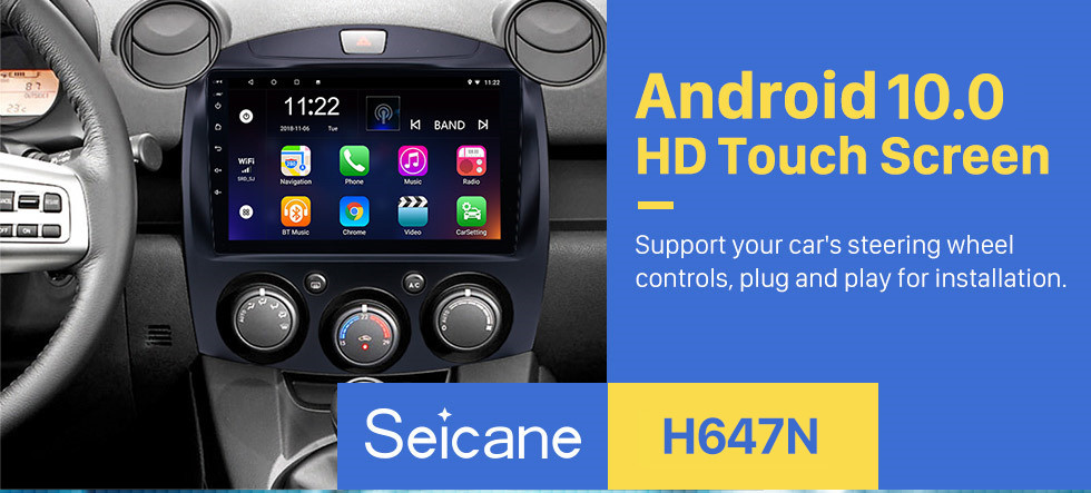 Seicane HD Touchscreen 9 inch Android 10.0 GPS Navigation Radio for 2007-2014 MAZDA 2/Jinxiang/DE/Third generation with Bluetooth USB support Mirror Link