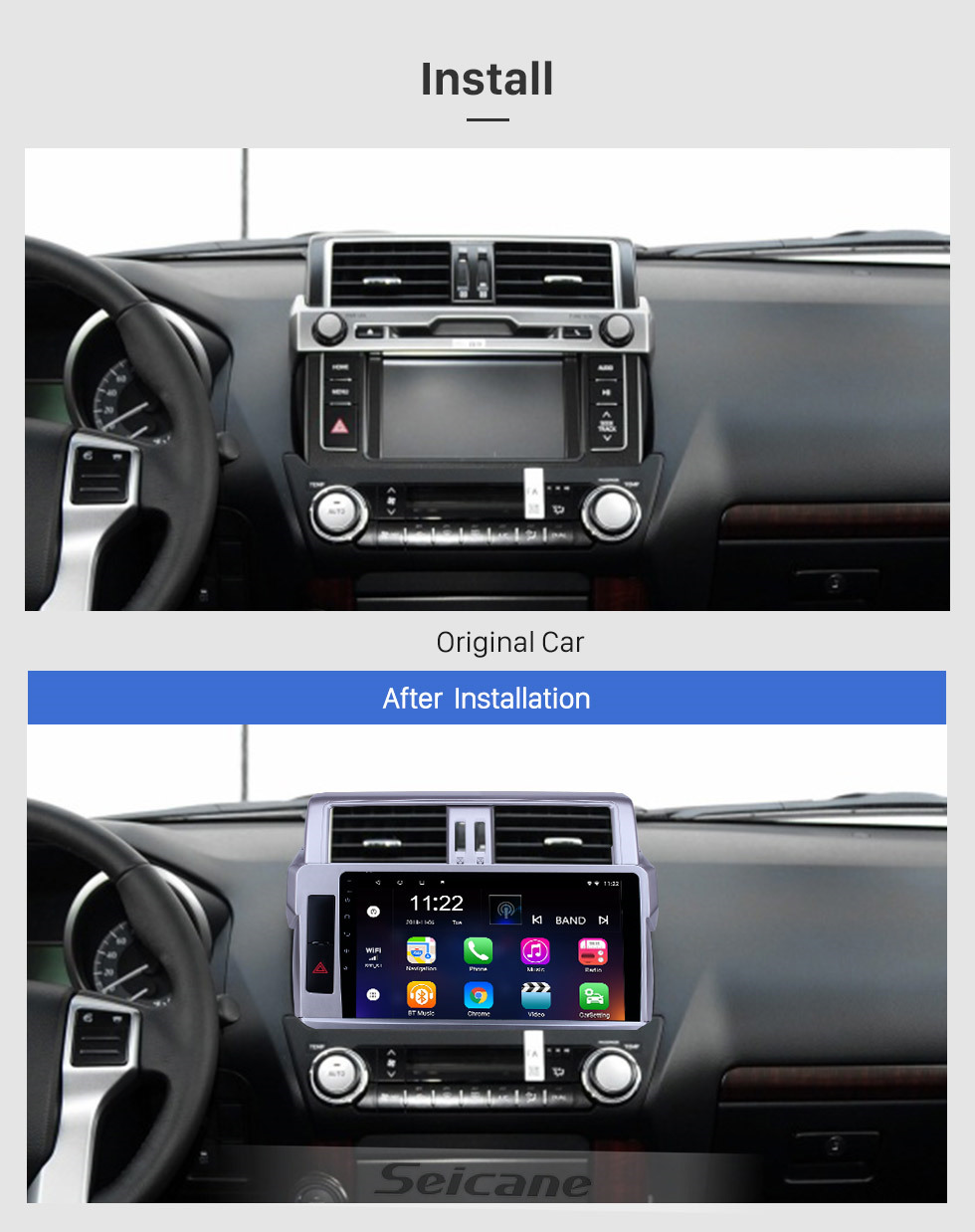 Seicane 10.1 inch GPS Navigation Radio Android 10.0 for 2014 Toyota Pardo With HD Touchscreen Bluetooth support Carplay Backup camera