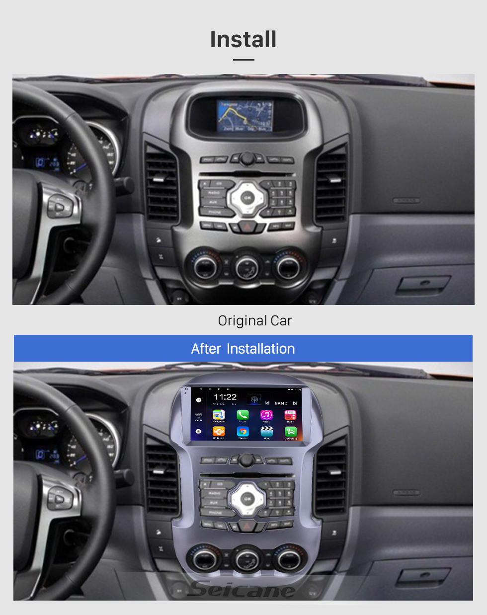 Seicane OEM 9 inch Android 10.0 for 2011-2016 Ford Ranger Radio Bluetooth HD Touchscreen GPS Navigation support Carplay DAB+ OBD2 TPMS