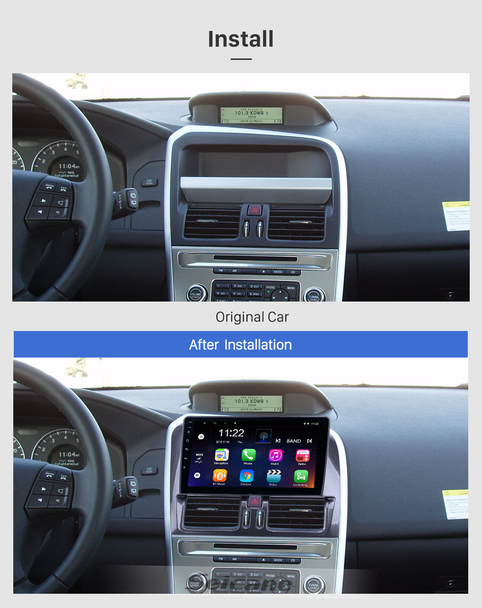 Seicane HD Touchscreen de 9 polegadas para 2008 2009 2010-2016 Volvo XC60 Radio Android 9.1 Navegação GPS com suporte Bluetooth Carplay Câmera traseira