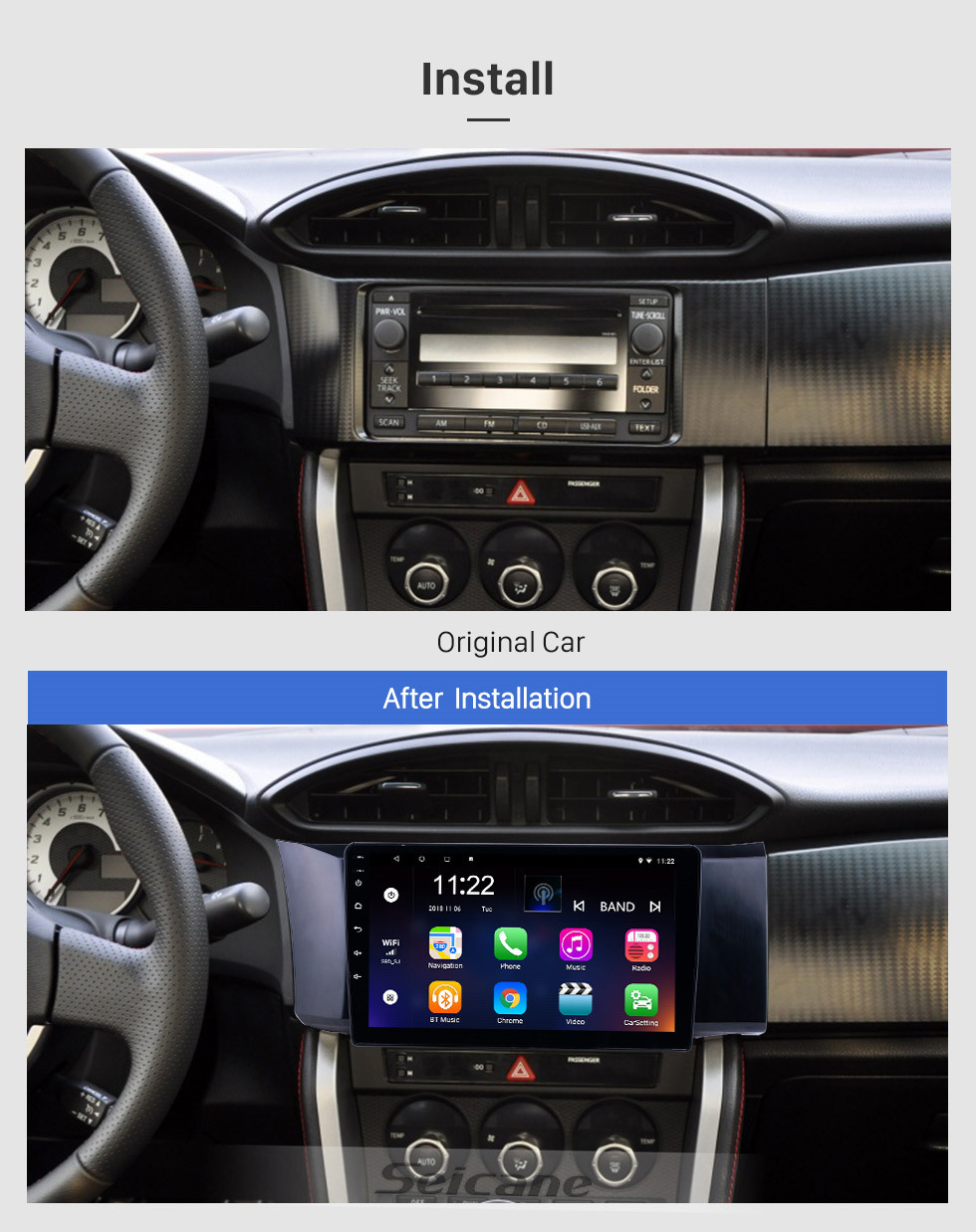 Seicane 9 inch GPS Navigation Radio Android 10.0 for 2013-2014 Toyota 86 LHD With HD Touchscreen Bluetooth support Carplay Backup camera