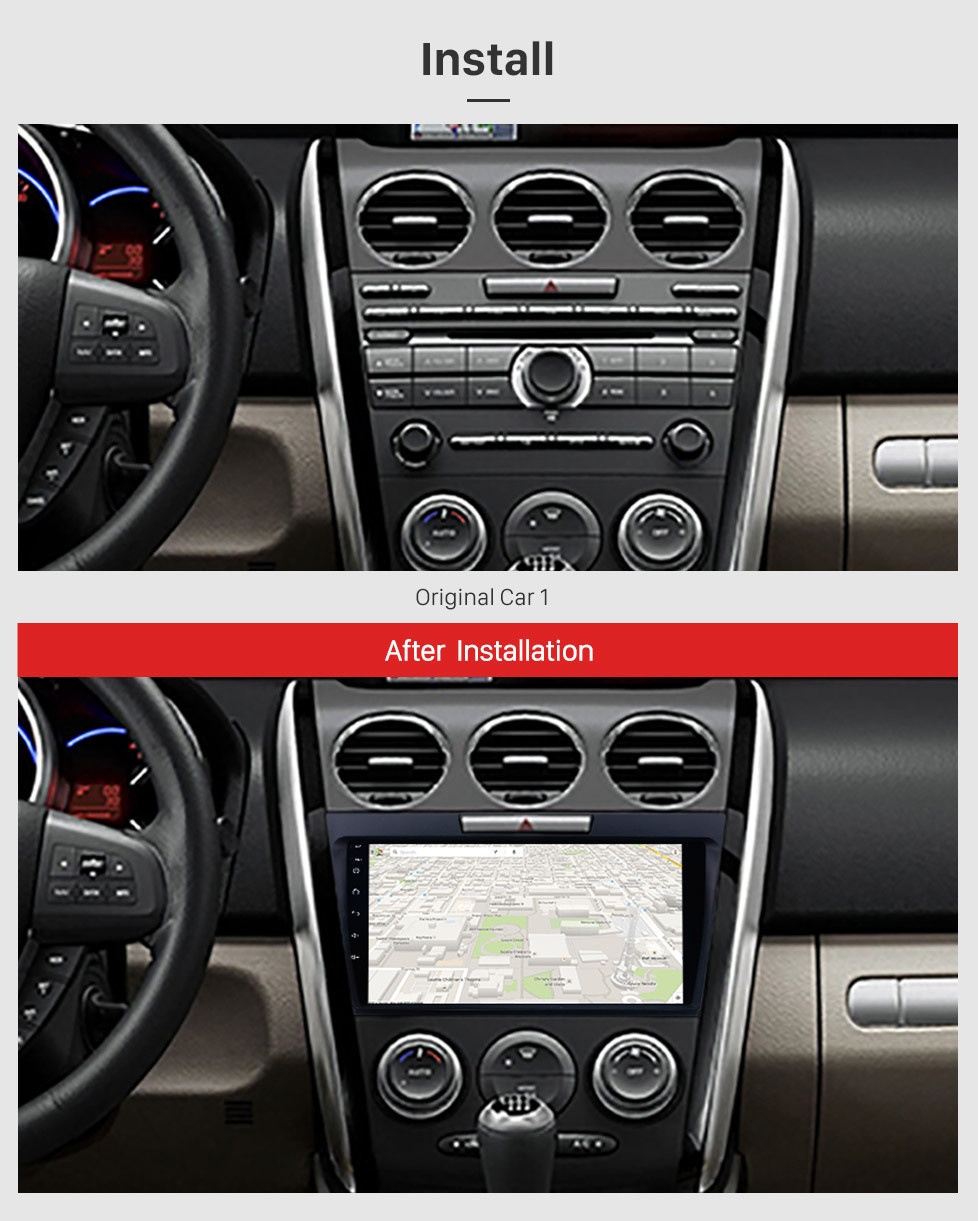 Seicane 9 inch Android 10.0 2 Din Radio 2007-2014 MAZDA CX-7 GPS Navigation Bluetooth with USB SD 1080P Video Audio system Aux