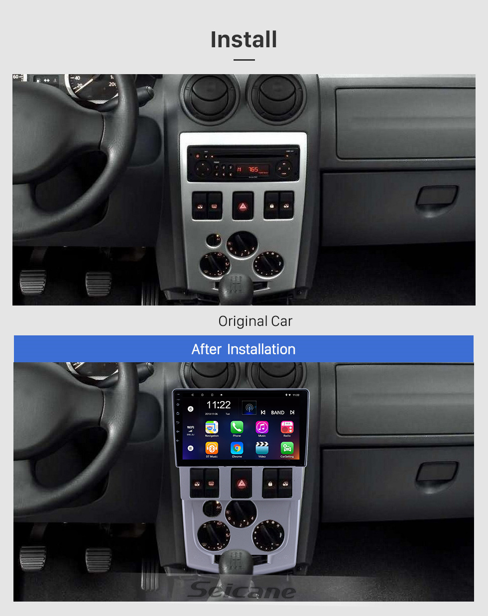 Seicane Android 10.0 9 inch for 2004 2005 2006 2007 2008 Renault LOGAN L90 Radio HD Touchscreen GPS Navigation with Bluetooth support Carplay DVR