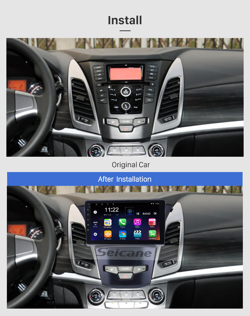 Seicane OEM 9 inch Android 10.0 for 2014 2015 2016 SsangYong Korando Radio Bluetooth HD Touchscreen GPS Navigation support Carplay DAB+ OBD2