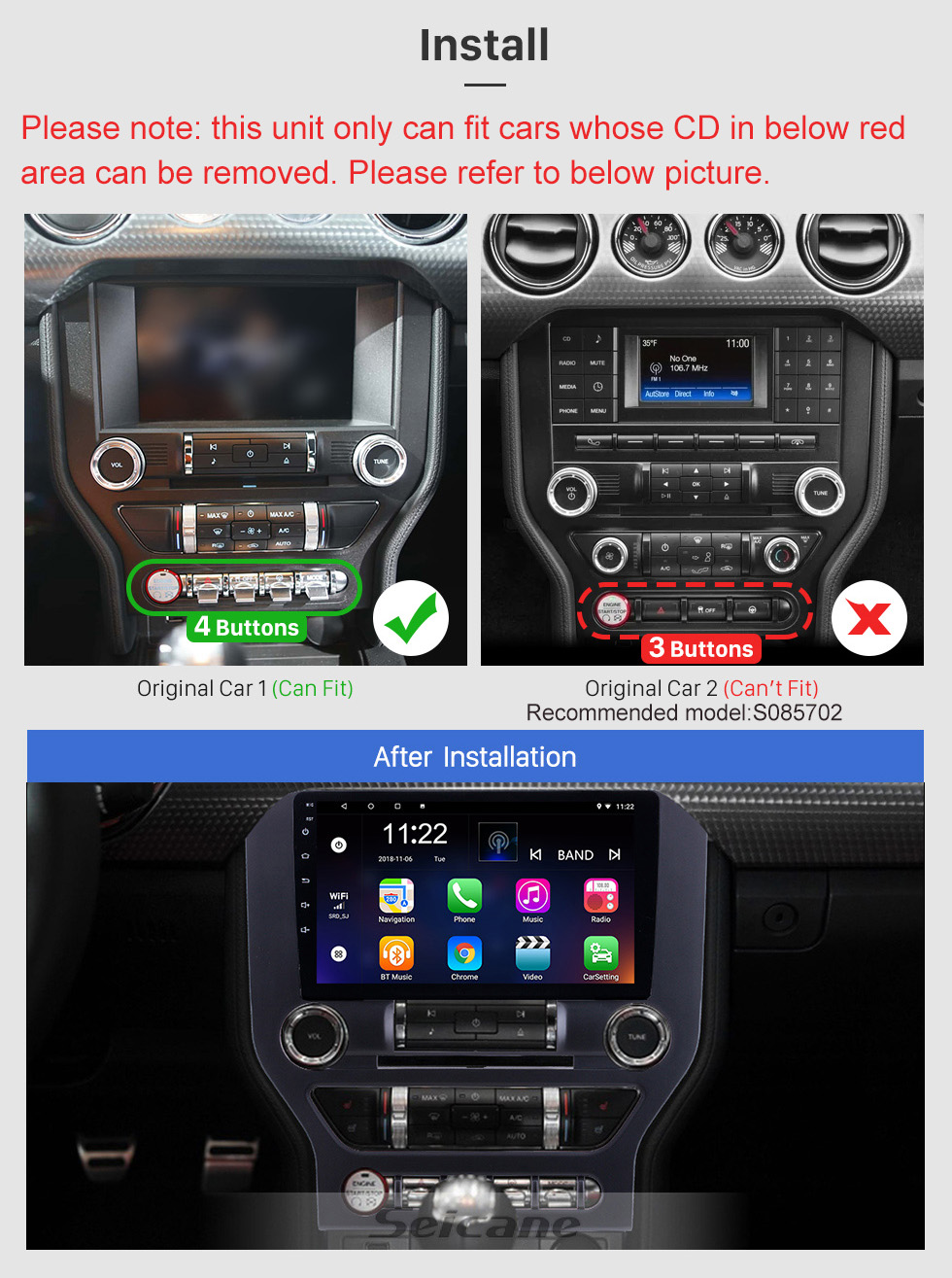 Seicane HD Touchscreen 9 inch for 2015 Ford Mustang Radio Android 10.0 GPS Navigation with Bluetooth WIFI support Carplay TPMS DAB+