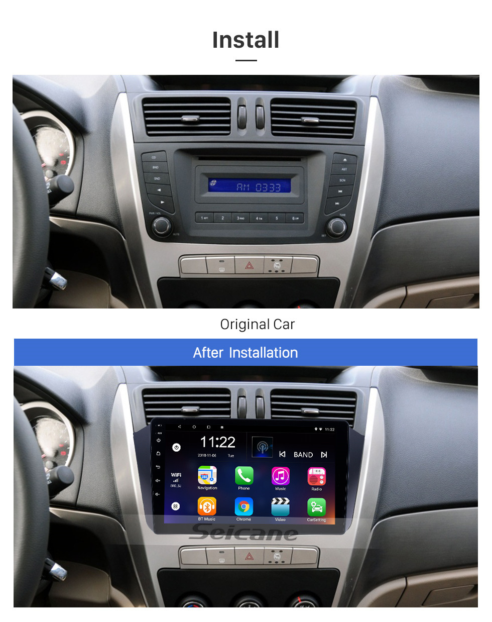 Seicane OEM 9 inch Android 10.0 for 2012 2013 2014 Geely GX7 Radio Bluetooth HD Touchscreen GPS Navigation System support Carplay DAB+ OBD2