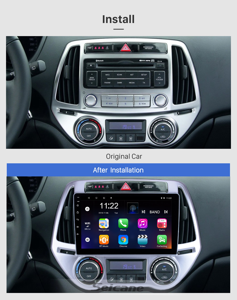 Seicane For 2012 2013 2014 Hyundai i20 Auto A/C Radio 9 inch Android 10.0 HD Touchscreen GPS Navigation System with Bluetooth support Carplay SWC